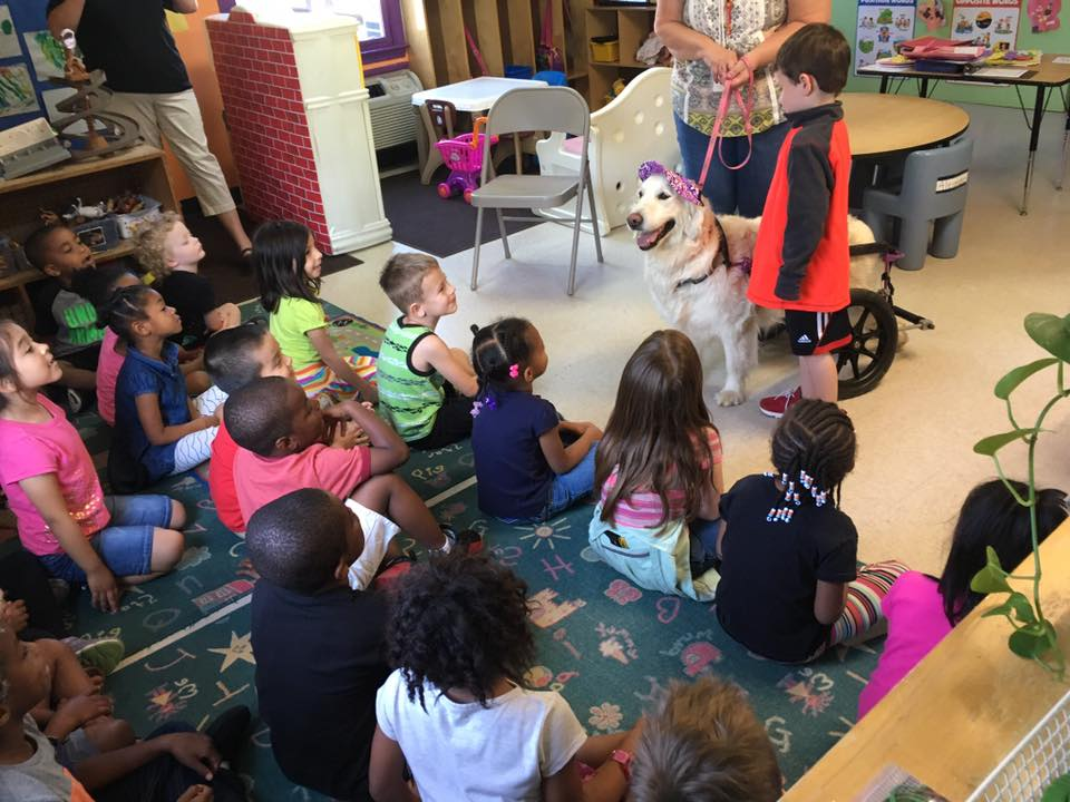 Ivy Grace with pre-k students Catawba Ridge Development Center